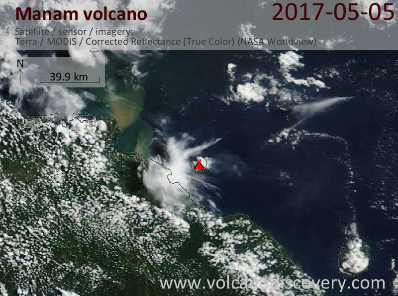 Satellite image of Manam volcano on  5 May 2017