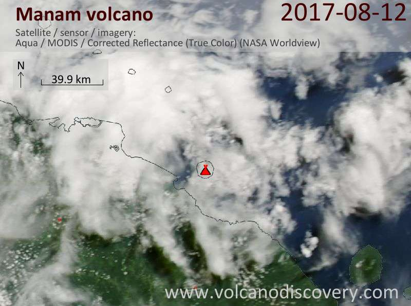 Satellite image of Manam volcano on 12 Aug 2017