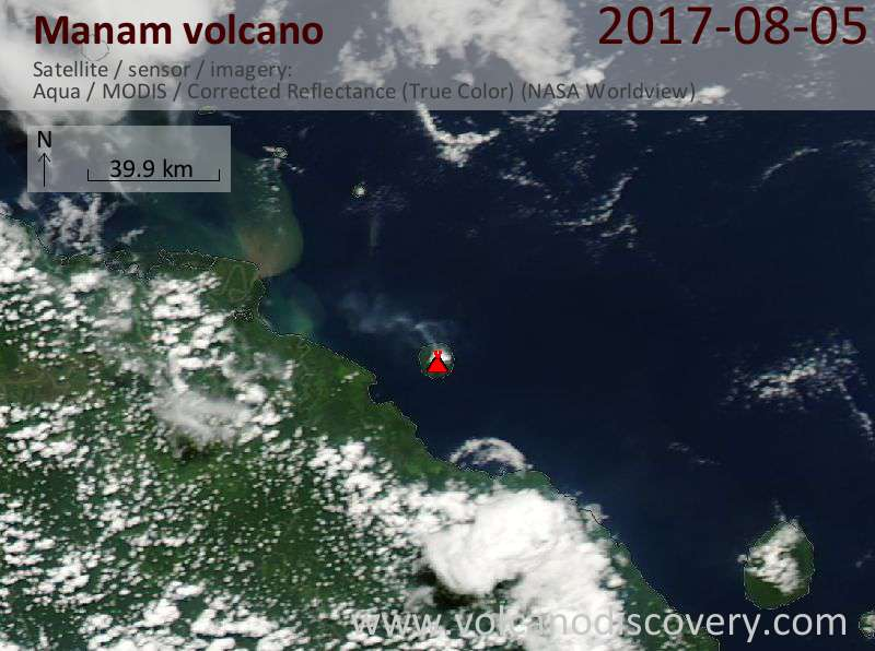 Satellite image of Manam volcano on  7 Aug 2017
