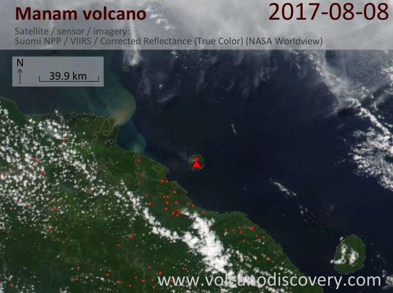 Satellite image of Manam volcano on  8 Aug 2017