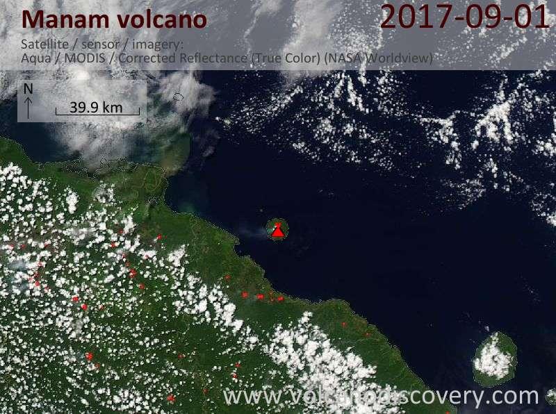 Satellite image of Manam volcano on  1 Sep 2017