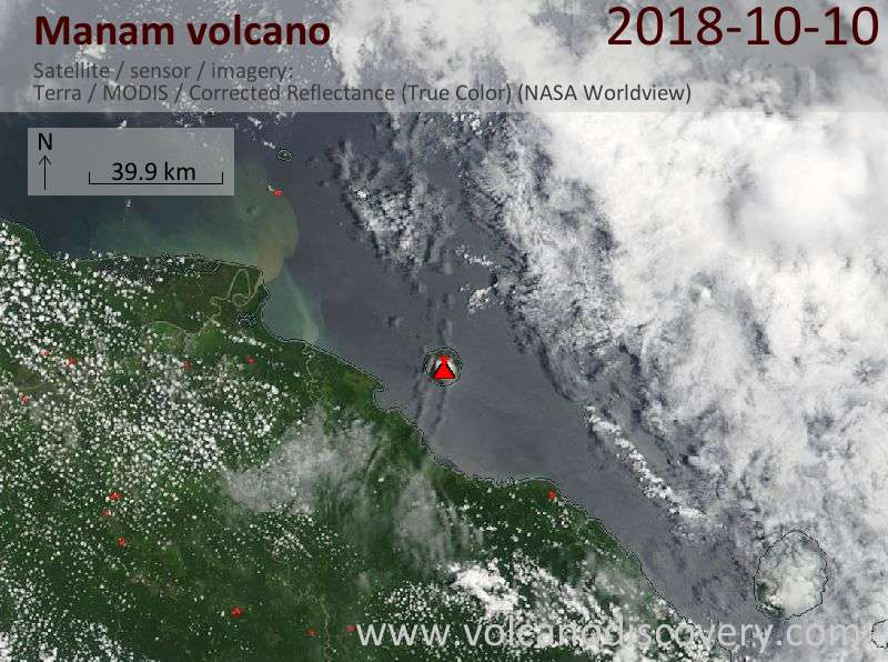 Satellite image of Manam volcano on 10 Oct 2018