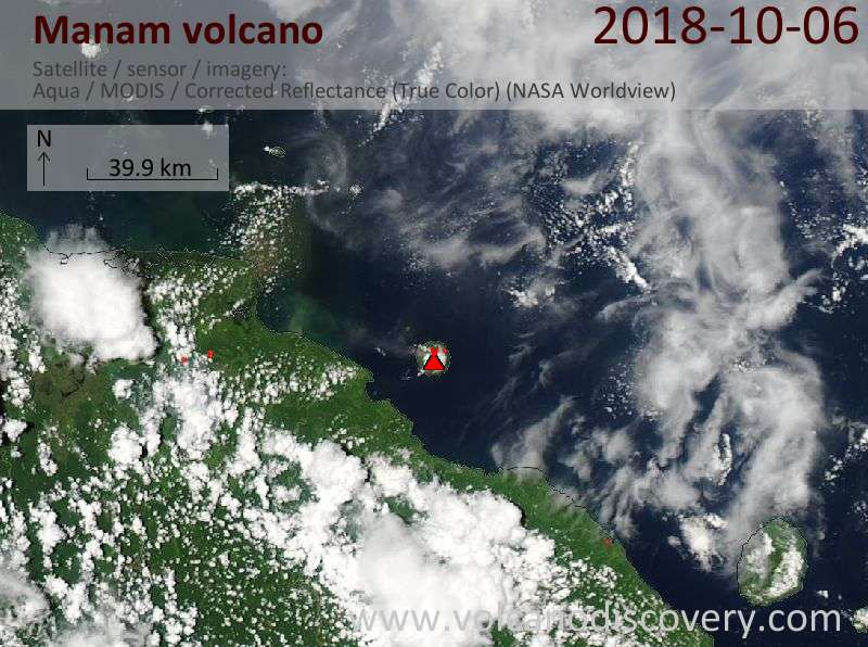 Satellite image of Manam volcano on  6 Oct 2018