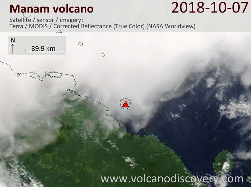 Satellite image of Manam volcano on  7 Oct 2018