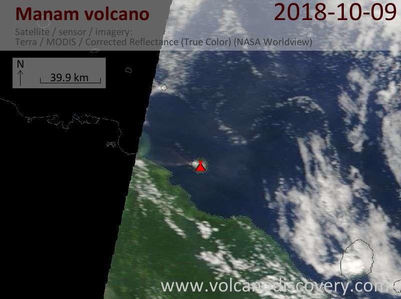 Satellite image of Manam volcano on  9 Oct 2018