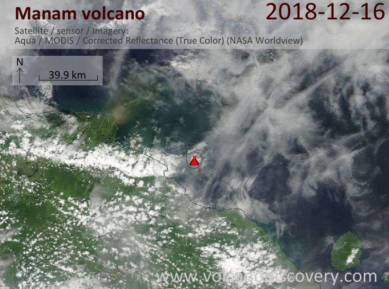 Satellite image of Manam volcano on 16 Dec 2018