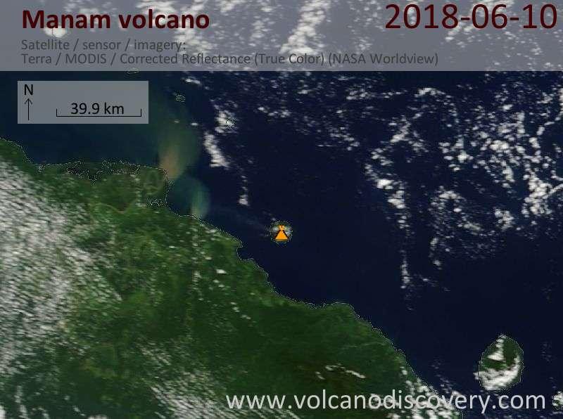 Satellite image of Manam volcano on 10 Jun 2018