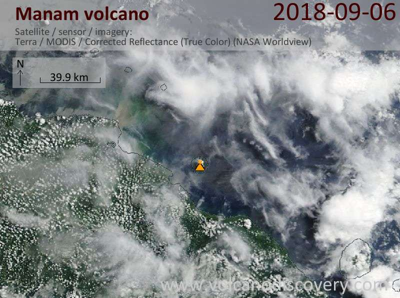 Satellite image of Manam volcano on  6 Sep 2018