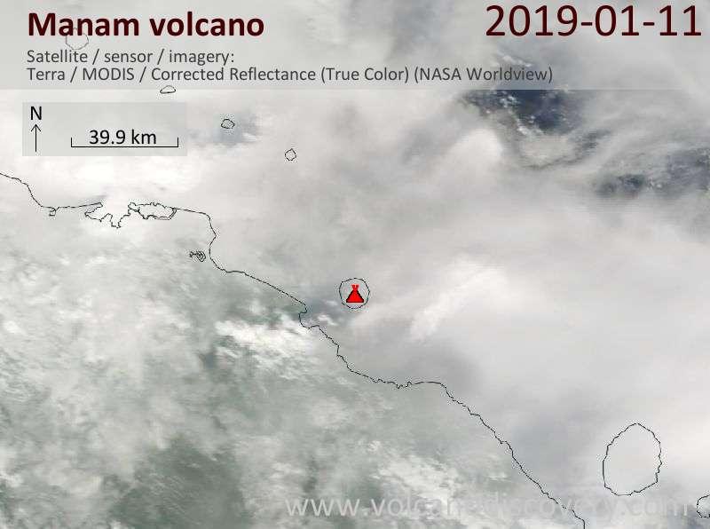 Satellite image of Manam volcano on 11 Jan 2019