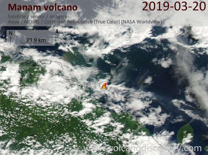 Satellite image of Manam volcano on 20 Mar 2019