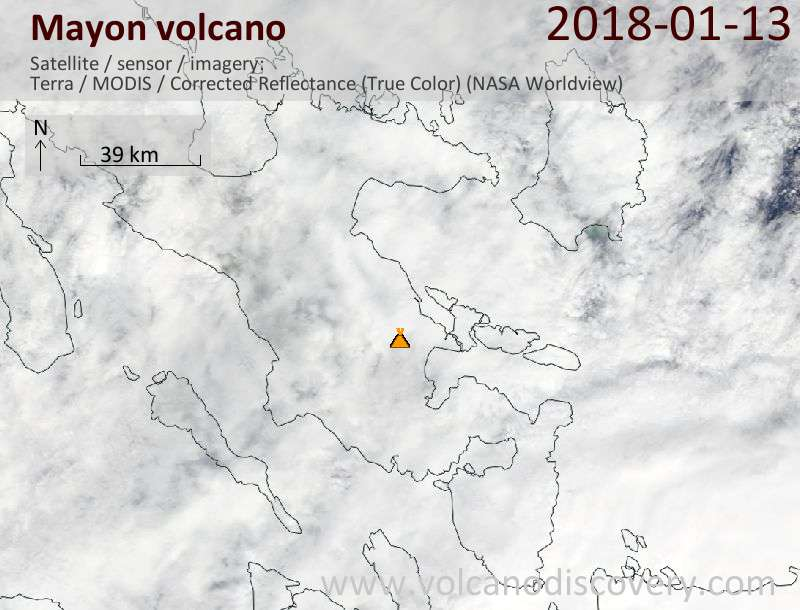 Satellite image of Mayon volcano on 14 Jan 2018