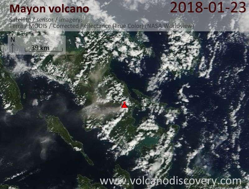 Satellite image of Mayon volcano on 23 Jan 2018