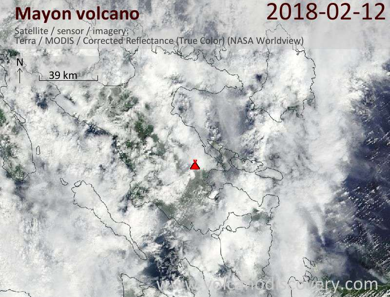 Satellite image of Mayon volcano on 12 Feb 2018