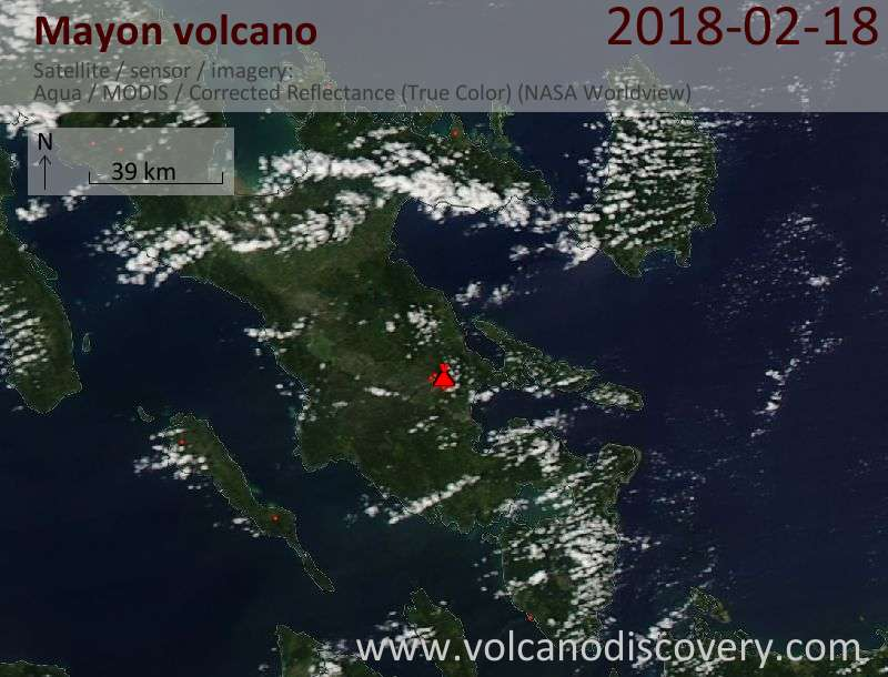 Satellite image of Mayon volcano on 18 Feb 2018