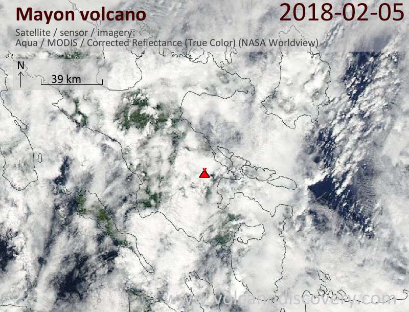 Satellite image of Mayon volcano on  5 Feb 2018
