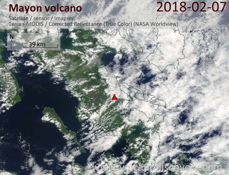 Satellite image of Mayon volcano on  7 Feb 2018