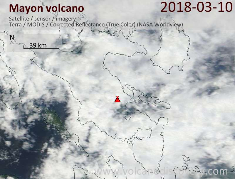 Satellite image of Mayon volcano on 10 Mar 2018
