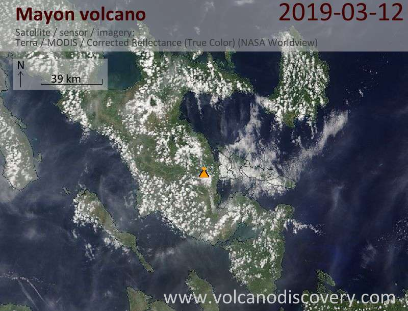 Satellite image of Mayon volcano on 12 Mar 2019