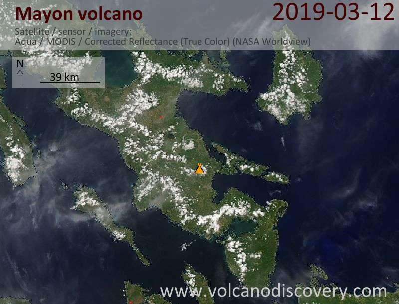 Satellite image of Mayon volcano on 13 Mar 2019