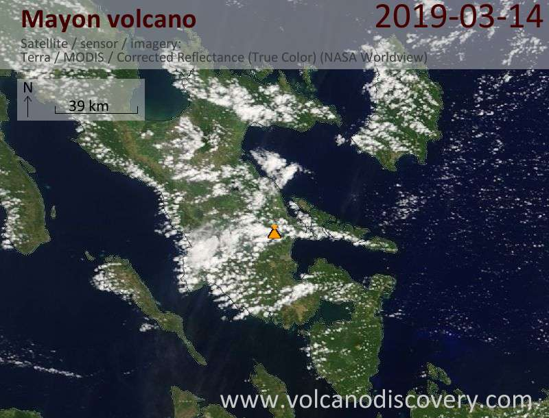 Satellite image of Mayon volcano on 14 Mar 2019
