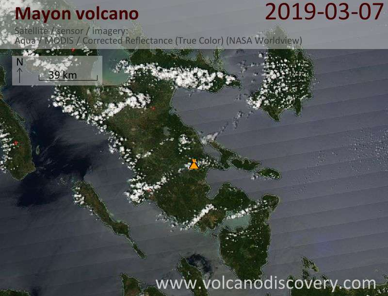 Satellite image of Mayon volcano on  7 Mar 2019