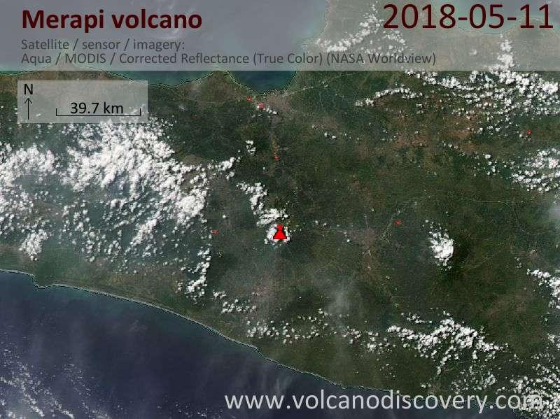 Satellite image of Merapi volcano on 11 May 2018
