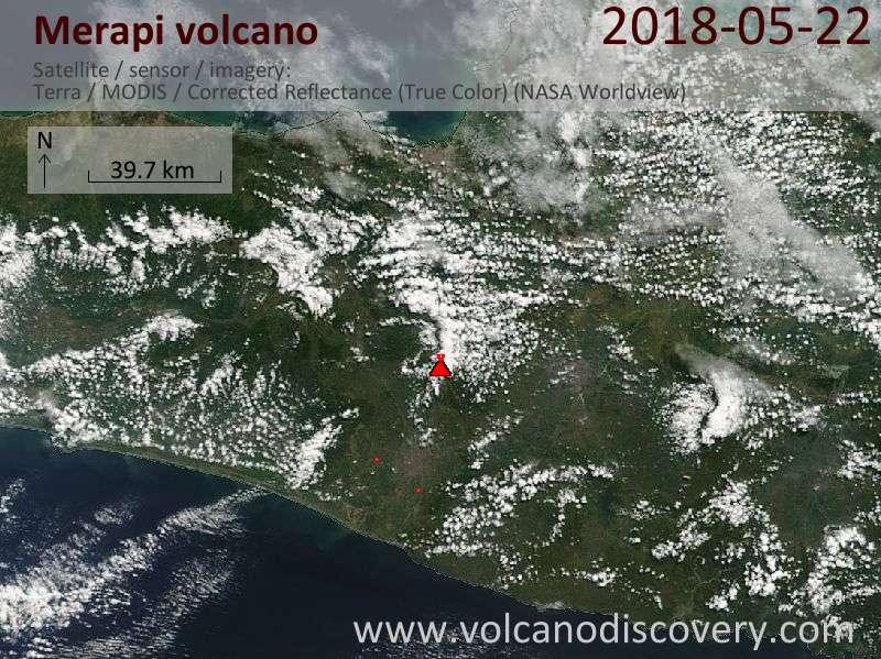 Satellite image of Merapi volcano on 22 May 2018