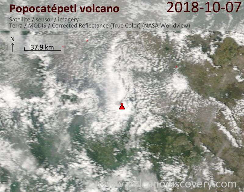 Satellite image of Popocatépetl volcano on  7 Oct 2018