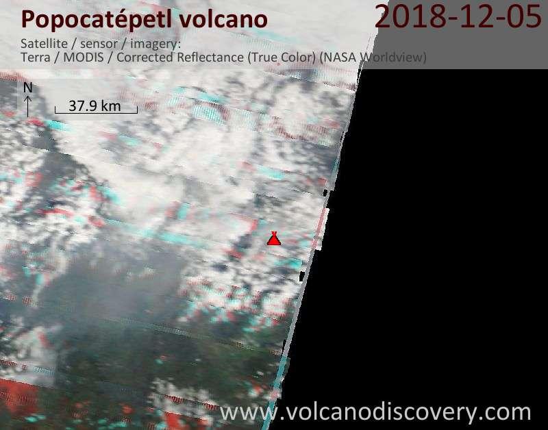 Satellite image of Popocatépetl volcano on  6 Dec 2018