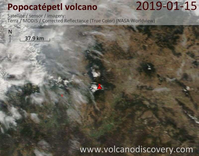 Satellite image of Popocatépetl volcano on 15 Jan 2019