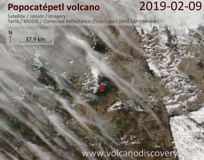 Satellite image of Popocatépetl volcano on  9 Feb 2019