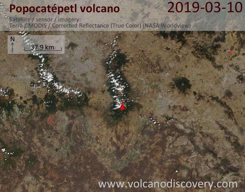 Satellite image of Popocatépetl volcano on 10 Mar 2019
