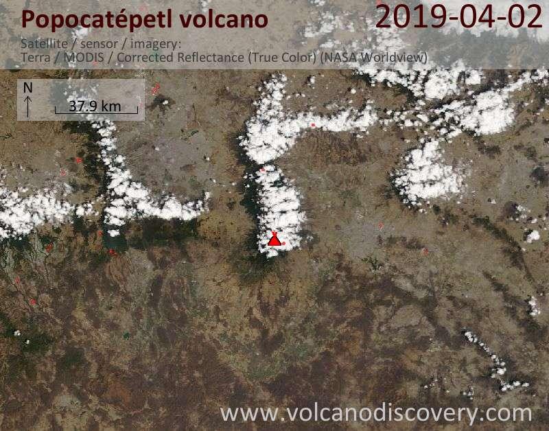 Satellite image of Popocatépetl volcano on  2 Apr 2019