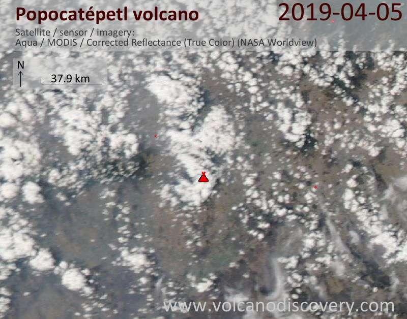 Satellite image of Popocatépetl volcano on  6 Apr 2019