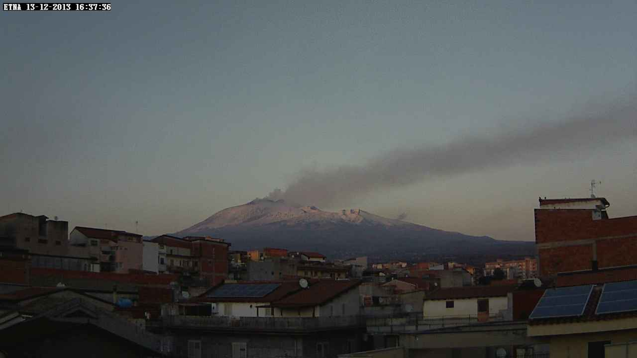 View of Etna from Paternó (SW side) with the plume from the NE crater