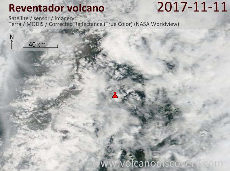 Satellite image of Reventador volcano on 11 Nov 2017