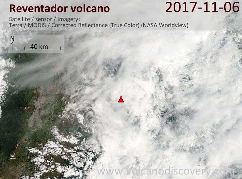 Satellite image of Reventador volcano on  6 Nov 2017