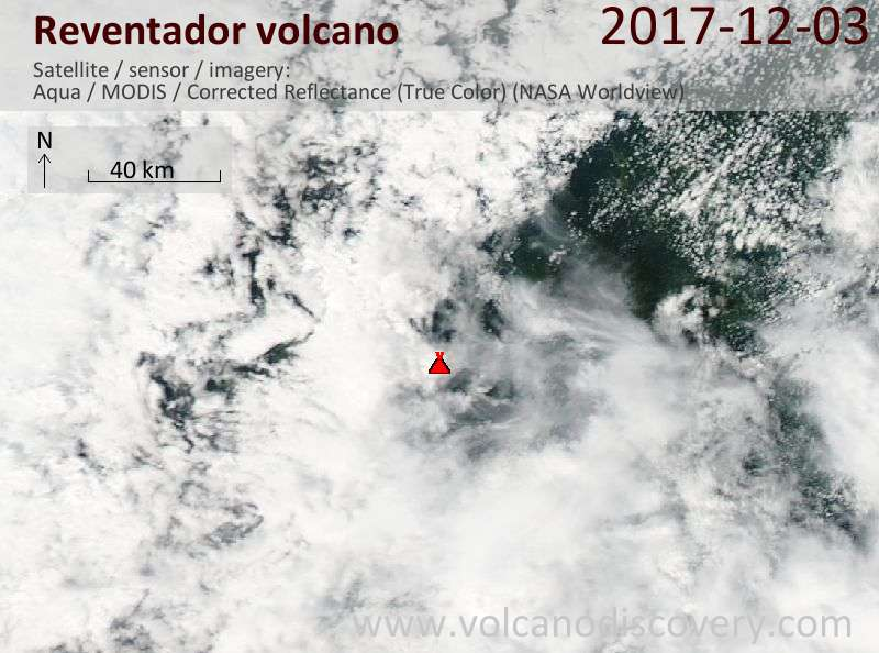 Satellite image of Reventador volcano on  3 Dec 2017