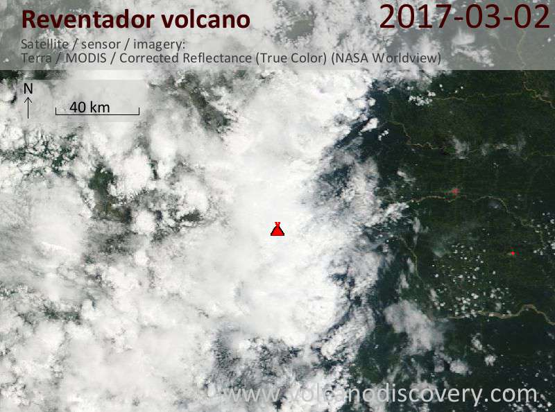 Satellite image of Reventador volcano on  2 Mar 2017