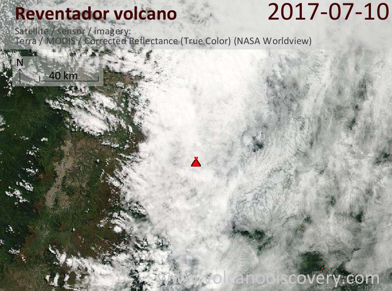 Satellite image of Reventador volcano on 10 Jul 2017