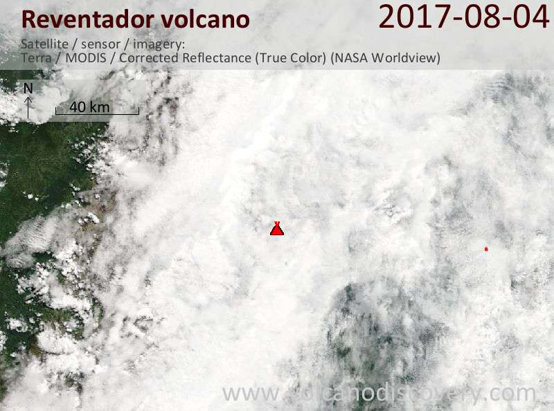 Satellite image of Reventador volcano on  8 Aug 2017
