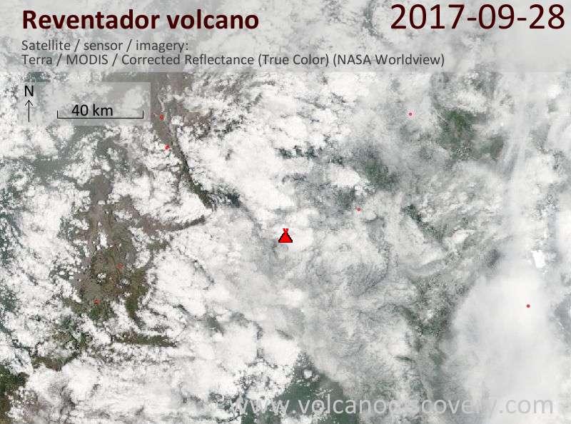 Satellite image of Reventador volcano on 28 Sep 2017
