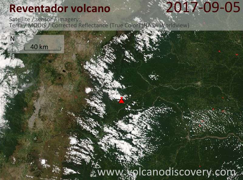 Satellite image of Reventador volcano on  5 Sep 2017