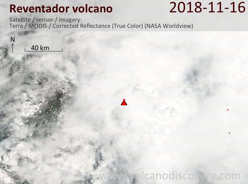 Satellite image of Reventador volcano on 16 Nov 2018