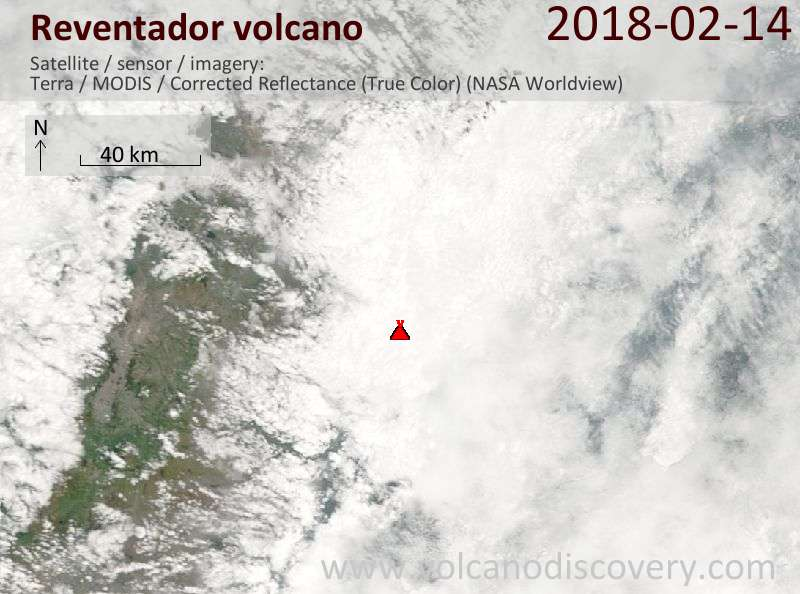 Satellite image of Reventador volcano on 14 Feb 2018