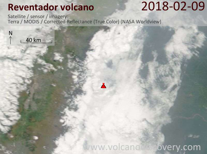 Satellite image of Reventador volcano on  9 Feb 2018