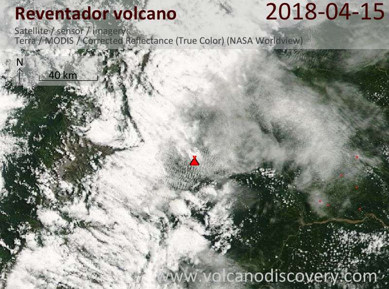 Satellite image of Reventador volcano on 15 Apr 2018