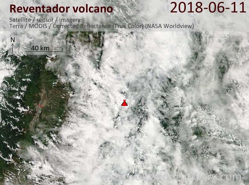 Satellite image of Reventador volcano on 11 Jun 2018