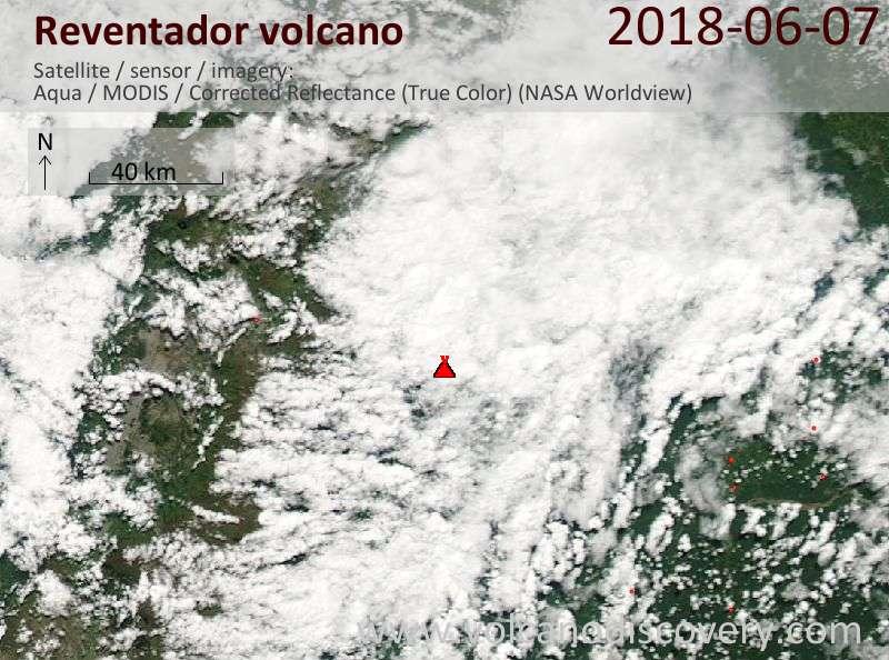 Satellite image of Reventador volcano on  7 Jun 2018