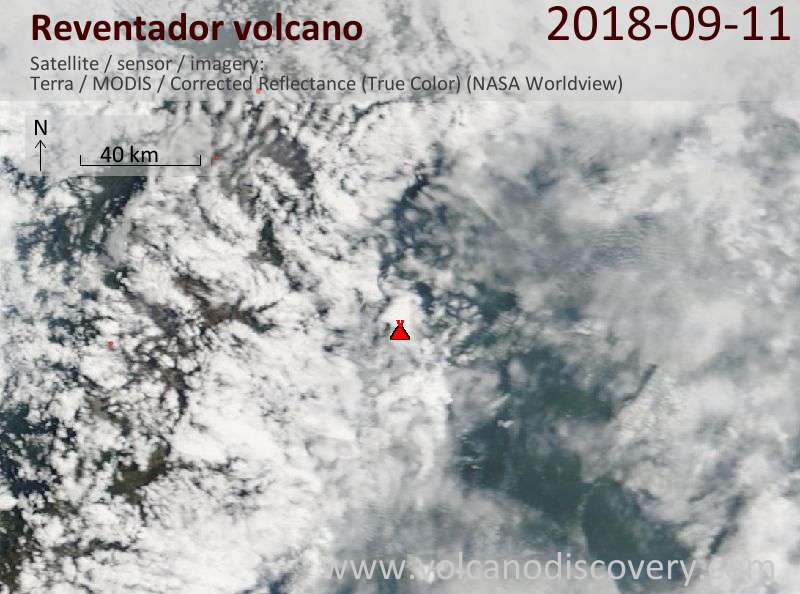 Satellite image of Reventador volcano on 11 Sep 2018